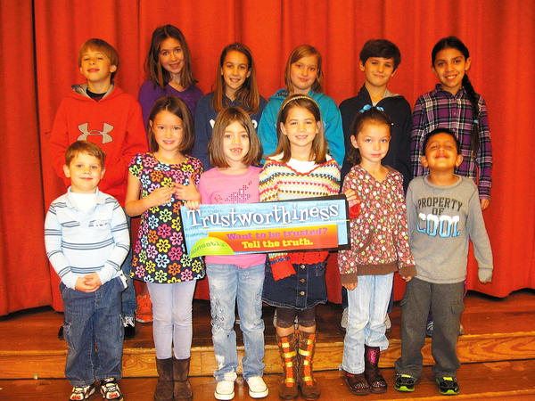 Potomac Heights Elementary School named 12 students for exemplifying the Character Counts! trait of trustworthiness. Front row, from left, Brady Kohler, Rebekah Feight, Eva Jovel, Anna Smith, Gianna Scibilia and Rishi Bhat. Back row, Ayden Morningstar, Katie Keckler, Josie Allshouse, Hannah Nance, Boden Reisinger and Ana Mooney.
