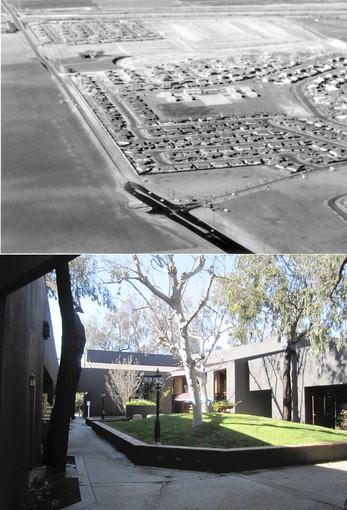 A then-and-now picture showing the site of the Piecemakers Village at 2845 E. Mesa Verde Drive. The Unitarian Universalists will move there in January 2013.