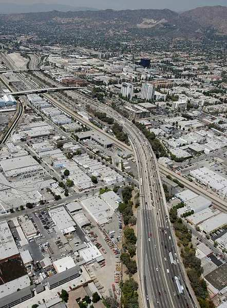 An aerial shot of Interstate 5 Freeway in Burbank.