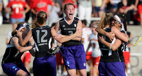 Shannon Smith (center) celebrates Northwestern's win over Maryland in the 2011 NCAA final.  (Kathleen Malone-Van Dyke / special to the Tribune)