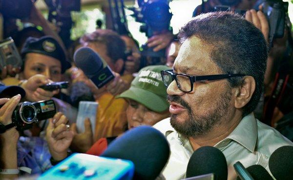 FARC commander Ivan Marquez reads a statement to the media at Convention Palace in Havana.