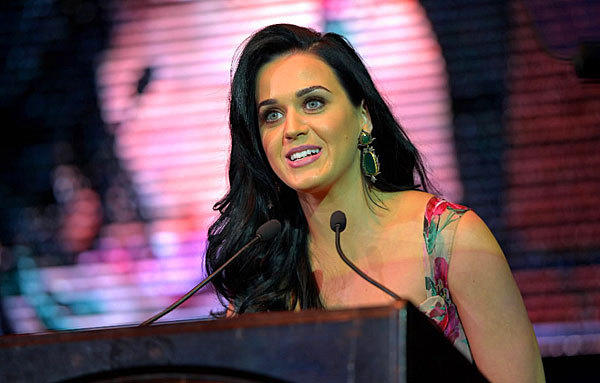 Katy Perry, an honoree, addresses the audience at the Dream Foundation Celebration of Dreams in Santa Barbara, Calif. The foundation is a national organization that serves the final wishes of adults facing life-threatening illness.