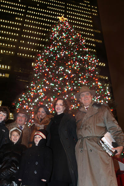Mayor Daley and his grandchildren pose with Allison Payne, Joan Cusack, and Steve Sanders, after lighting the Christmas tree at Daley Plaza, Wednesday Nov. 24, 2010.