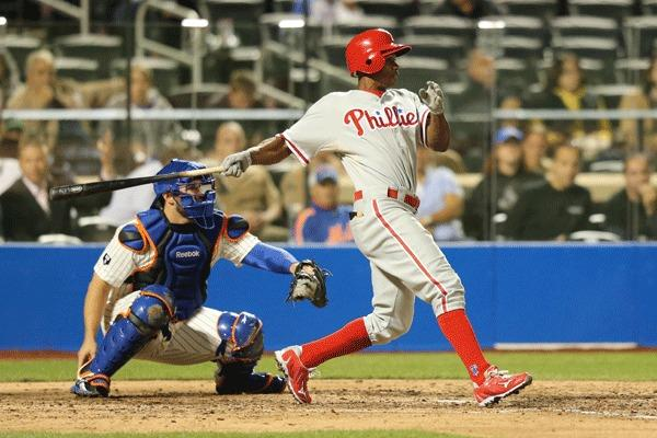 Philadelphia Phillies left fielder Juan Pierre (10) grounds into a double play during the sixth inning against the New York Mets at Citi Field.
