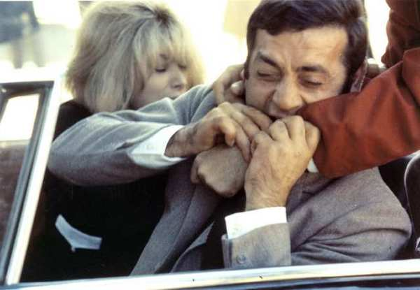 "Mireille Darc as ""Corinne Durand"" and Jean Yanne as ""Roland Durand"" in ""Weekend."""