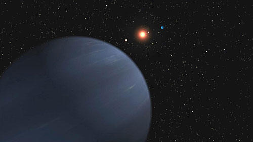 <b>FOUND IN SPACE:</b> An artist's rendering from NASA's Jet Propulsion Laboratory shows planets orbiting 55 Cancri. The newfound planet is similar to Saturn and not likely to support life.