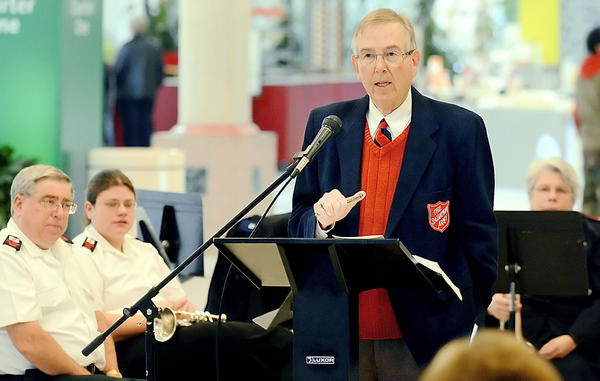 Harry Barger, director of development at The Salvation Army, speaks Monday at a kettle drive kickoff at Valley Mall.