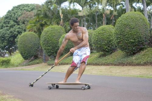 """<b>Paddle on pavement</b><br> <br> <b>Kahuna Creations Ki'i  Pohaku longboard and Big Stick:</b> A 4-foot longboard that you propel on the streets with a 5 1/2-foot, rubber-tipped wooden pole.<br> <br> <b>Likes: </b>Exhilarating fun and fitness for all ages. Superb upper-body workout as you push off and glide; you drag the end of the stick to stop. The artistic, slightly rounded, sand-impregnated, three-eighths-inch-thick wooden board flexes as you push off, adding to your power. The 10-inch wide wheelbase keeps it very stable. Instant fun -- you can do it the first time and feel yourself getting smoother by the minute.<br> <br> <b>Dislikes: </b>None.<br> <br> <b>Price: </b>Longboard, $139-$159; Big Stick, $89-$149 (877) 945-0100;  <a href=""""http://www.kahunacreations.com"""">www.kahunacreations.com</a>."""