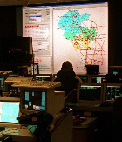 A photo of LAFD's emergency dispatch center, then located in City Hall, more than a decade ago.