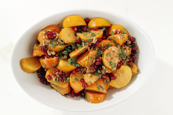 Persimmon salad with cumin-lime vinaigrette.