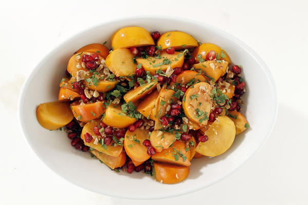 "Persimmon salad with cumin-lime vinaigrette. <a href=""http://articles.latimes.com/2012/nov/21/news/la-dd-thanksgiving-recipe-persimmon-salad-20121119"">Recipe</a>."
