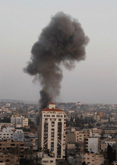 Airstrikes by Israeli jets in Gaza City began last week.
