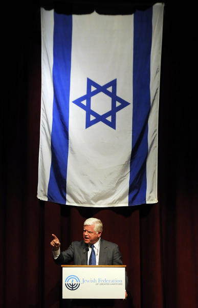 "Congressman John Larson was one of the Connecticut Congressional Delegation, Greater Hartford Rabbis and community leaders that spoke in the Herbert Gilman Theater at the Mandell JCC Monday evening during an event co-sponsored with the Jewish Federation of Greater Hartford. ""We Stand with Israel: An Evening of Solidarity"", is in response to the recent events and continued attacks on the nation of Israel by terror groups in Gaza."