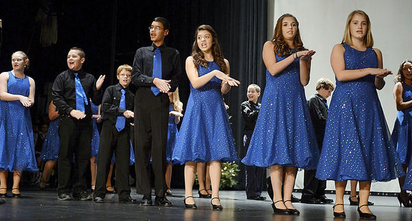 The Springfield Middle School Show Choir performs Monday evening during the annual Hollyfest at The Maryland Theatre.