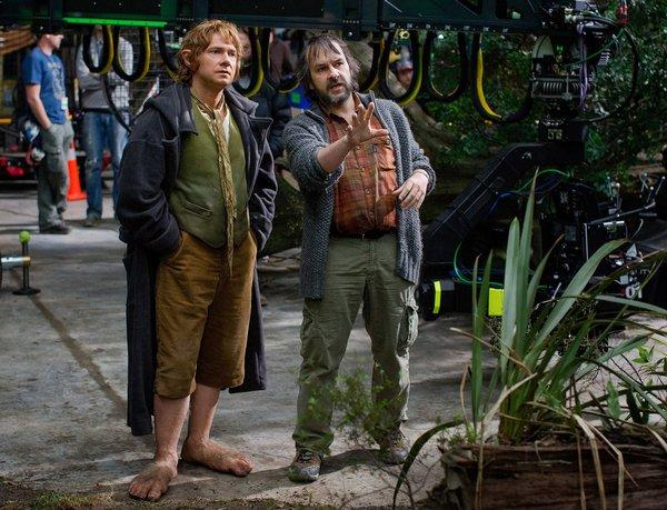 "Martin Freeman, left, and director Peter Jackson on the set of ""The Hobbit."""