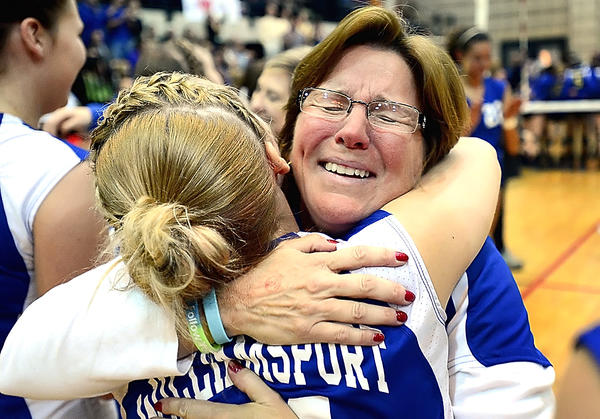 Williamsport  volleyball coach Emily Crabtree, right, hugs MaryBeth Raidt just seconds after the Wildcats beat Calvert for the Maryland Class 2A volleyball state championship.