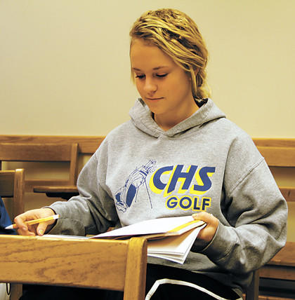 Mariah Grau, a senior at Central High School, is taking a college-level math class at Northern State University. She is taking advantage of tuition reimbursements from the NSU Foundation and Aberdeen Public Schools Foundation.