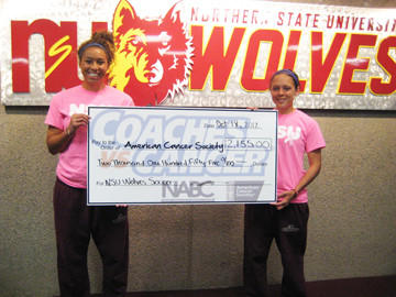During its Coaches vs. Cancer game on Sept. 8, the Northern State University soccer team raised $2,155 for the American Cancer Society. Holding the check, from left, are NSU soccer players Renee Gittings and Rachel Goslinga.