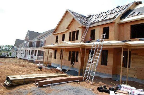 A home under construction in Buckingham, Pa.