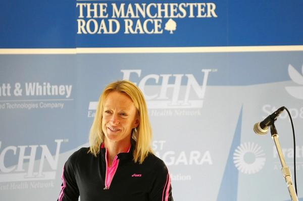 MANCHESTER, CT - 11.19.2012 - HONORARY CHAIR - Two-time Manchester Road Race winner Deena Kastor (1998 & 1999) was honored on Monday at the Manchester Country Club as the 2012 Race Chairperson. PATRICK RAYCRAFT | praycraft@courant.com ORG XMIT: B582520025Z.1 Name:hc-