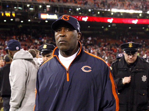 Bears coach Lovie Smith walks off the field after losing to the San Francisco 49ers at Candlestick Park.