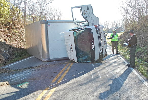 Truck overturned on Ky. 52.