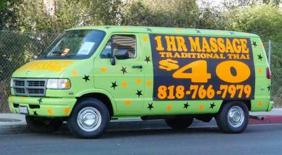 A van touting Thai massage parked on Riverside Drive in Burbank on Thursday, October 4, 2012.