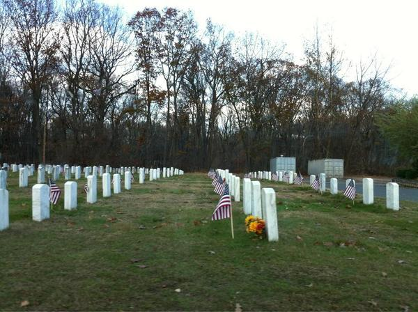 Flags near veterans' graves at Hillside Cemetery in East Hartford on Veterans Day.