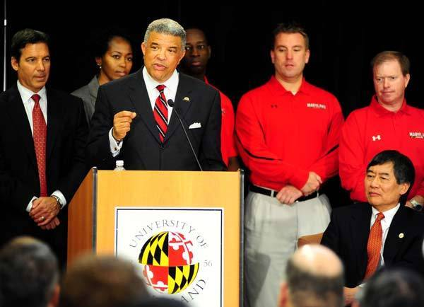 Maryland athletic director Kevin Anderson (left) speaks during the Big Ten Press Conference at Adele Stamp Union.