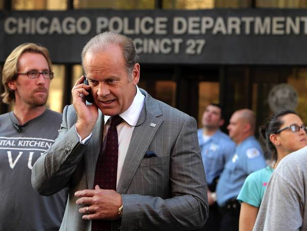 "Kelsey Grammer between takes on the set of ""Boss."""