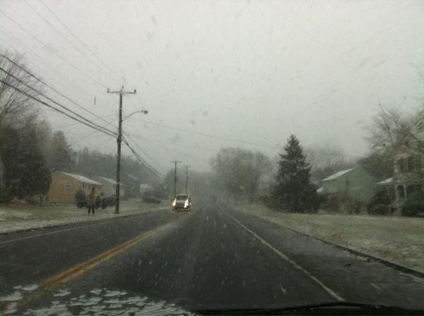 Mostly snow and some sleet come down in East Hartford during an early November snow storm.