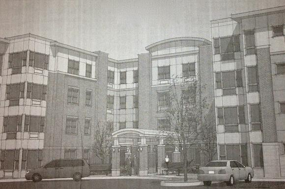 An artist's rendering of the Renaissance Gardens senior housing complex that is being built in Park Heights.