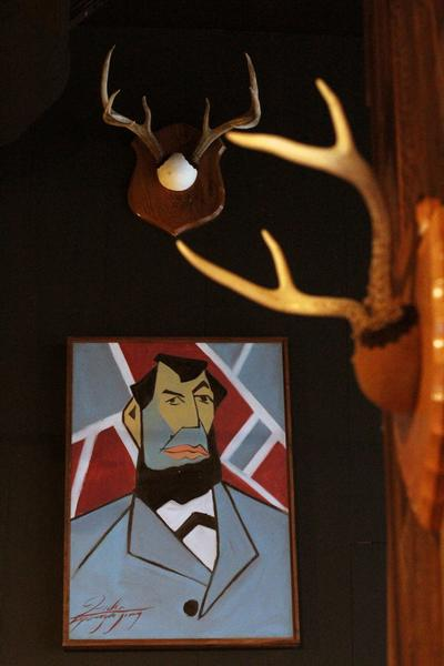 A painting of Abraham Lincoln in the Hanna-Barbera style by Brooklyn artist Karazona, $270.