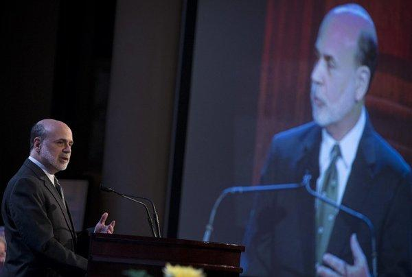 Ben S. Bernanke, chairman of the Federal Reserve, speaks to the Economic Club of New York on Tuesday.