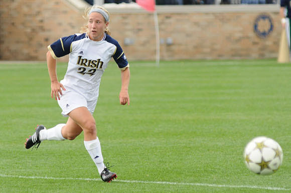 Crystal Thomas in action against Oakland University. (Courtesy Notre Dame Athletics)