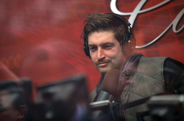 "Jay Cutler, in the showcase studio of WMVP-AM 1000, participates in ""The Waddle & Silvy Show"" in Chicago. ""I feel good, I feel good ... as normal as can be,"" Cutler said when asked how he felt."
