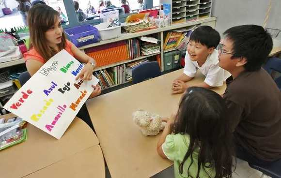 Students learn Spanish in Glendale, which has been at the forefront of dual-language learning, which has grown in popularity.