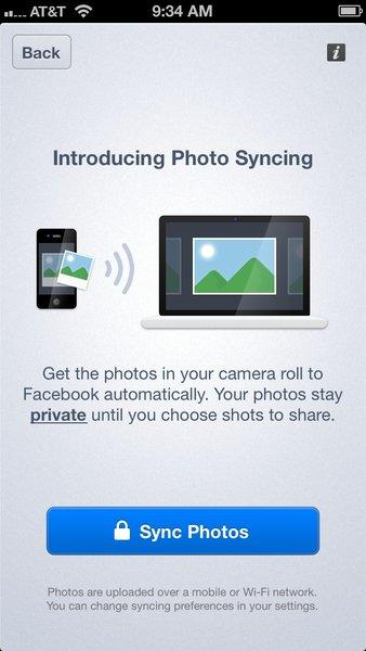 Facebook is testing a photo syncing app on its iOS and Android apps.