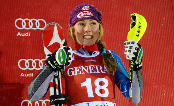 Mikaela Shiffrin, 17, the U.S. slalom prodigy, is thumbs-up for making the World Cup podium in Levi, Finland 10 days ago.
