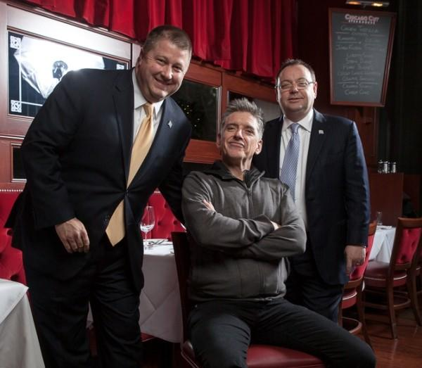 Comedian and talk show host Craig Ferguson (center) at Chicago Cut Steakhouse Nov. 15, 2012.