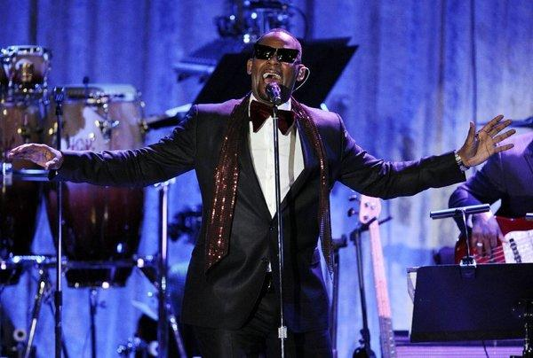 R. Kelly performing at a Grammy-related event in Beverly Hills on Feb. 12.