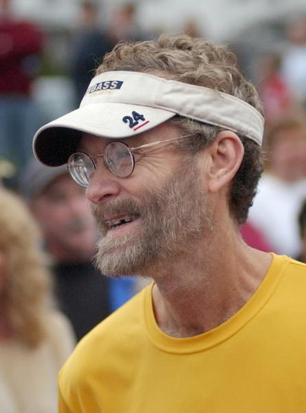 Amby Burfoot at the Manchester Road Race in 2004. The race's honorary chairman that year, John Treacy, broke Burfoot's seven-race streak in 1978.