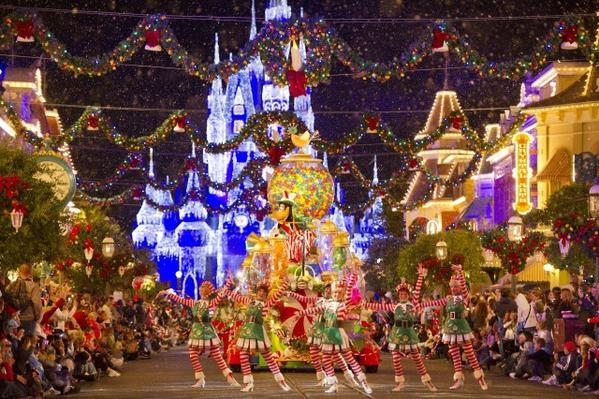The parade is a highlight of Mickey's Very Merry Christmas Party