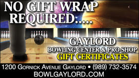 Gaylord Bowling Center & Pro Shop - Gift Certificates - No Gift Wrap Required
