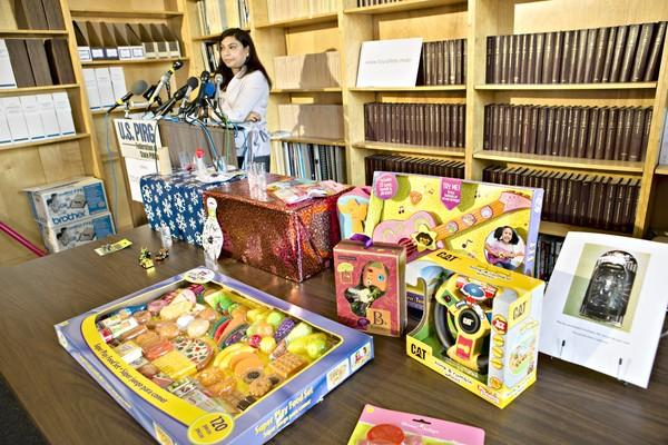 "Nasima Hossain speaks during a news conference where U.S. PIRG released its 27th annual ""Trouble in Toyland"" report on hazardous toys."