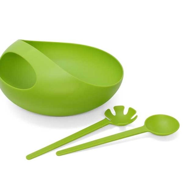"Not just for salad, this bowl set can also serve famished guests pasta and fruit. The serving fork and spoon fit snugly in an opening in the bowl so you won't have to find awkward places to set them down when you're at a party. Comes in green, white and black.<br><br>  Price: $42<br><br>  Where to find: A + R, <a href=""http://www.aplusrstore.com/product.php?id=429&cid=64"">http://www.aplusrstore.com/product.php?id=429&cid=64</a><br><br>  --LV"