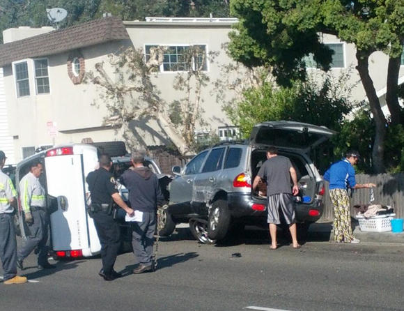 The scene of a multiple-vehicle crash on Balboa Boulevard on Tuesday morning.