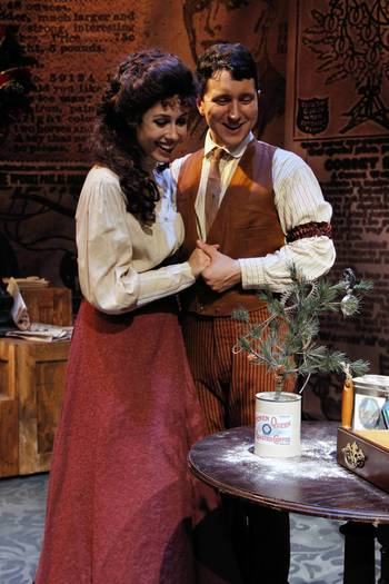 "Chelsea Morgan and Jason Richards as Della and Jim Dillingham in ""The Gifts of the Magi."""
