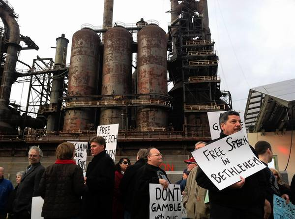 Union workers demonstrate during a Free Speech rally at Steelstacks in Bethlehem on Tuesday, November 20, 2012.