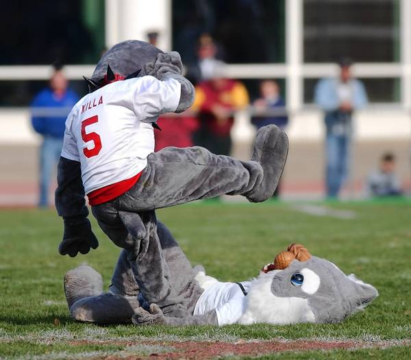 Easton High's Red Rover mascot tackles Phillipsburg High's Suzy Stateliner mascot at the 2001 Thanksgiving game. This year, unauthorized pre-game activities have left Easton with a cracked bulldog statue and Phillipsburg with a dead cat.